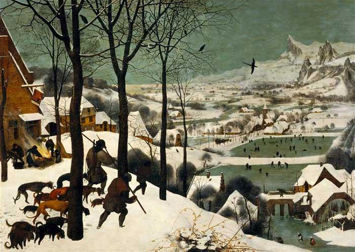 نقاشی شکارچیان در برف پیتر بروگل